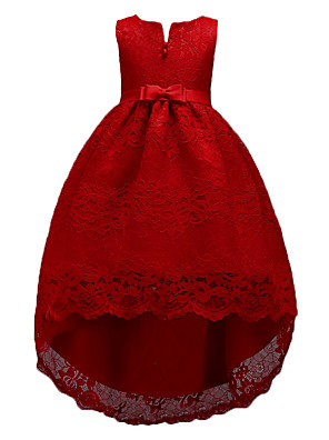 cheap Flower Girl Dresses-Kids Girls' Sweet Cute Party Holiday Solid Colored Sleeveless Knee-length Asymmetrical Dress Red / Cotton