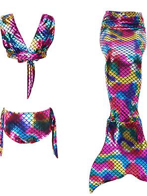 cheap Girls' Dresses-Kids Girls' Active Sports Mermaid Tail The Little Mermaid Striped Color Block Sleeveless Cotton Swimwear Rainbow