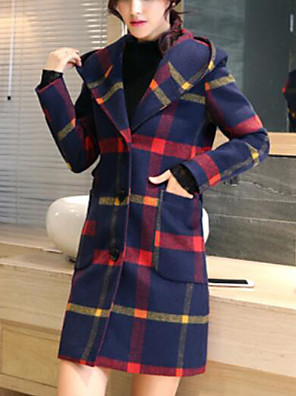 cheap Women's Coats & Trench Coats-Women's Fall & Winter Coat Daily Going out Basic Street chic Plus Size Long Plaid Checkered Wool Red / Green S / M / L