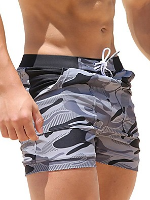 cheap Men's Exotic Underwear-Men's Swim Shorts Swim Trunks Spandex Board Shorts Breathable Quick Dry Drawstring - Swimming Diving Surfing Camo / Camouflage / Micro-elastic / Beach