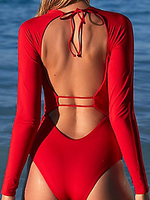 cheap Wetsuits, Diving Suits & Rash Guard Shirts-Women's One Piece Swimsuit High Waisted Swimsuit Nylon Bodysuit Anatomic Design High Elasticity Long Sleeve Open Back Front Zip - Swimming Surfing Snorkeling