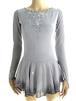 cheap Ice Skating Dresses , Pants & Jackets-Figure Skating Dress Women's Girls' Ice Skating Dress Grey Halo Dyeing Spandex Micro-elastic Professional Competition Skating Wear Handmade Sequin Long Sleeve Figure Skating