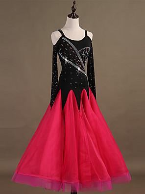 cheap Bridesmaid Dresses-Ballroom Dance Dress Appliques Crystals / Rhinestones Women's Training Long Sleeve High Nylon Organza Tulle