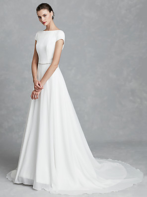 cheap Evening Dresses-A-Line Wedding Dresses Bateau Neck Court Train Chiffon Satin Short Sleeve Simple Backless with Crystal Brooch 2020