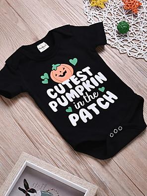 cheap Girls' Dresses-Baby Girls' Basic Print / Halloween Short Sleeves Bodysuit Black / Toddler