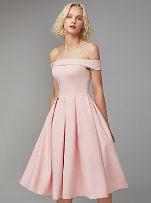 cheap Prom Dresses-A-Line Minimalist Pink Graduation Cocktail Party Dress Off Shoulder Sleeveless Knee Length Spandex with Pleats 2020