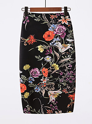 cheap Women's Skirts-Women's Going out Basic / Chinoiserie Bodycon Skirts - Floral Black L XL XXL