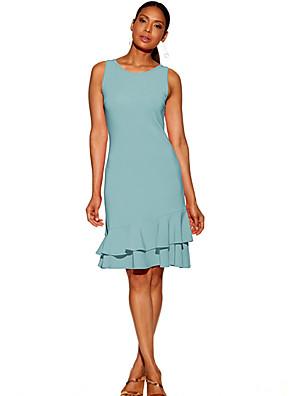 cheap Women's Dresses-Women's Sheath Dress - Sleeveless Solid Colored Ruffle Basic Going out Beach Slim High Waist Black Red Light Blue S M L XL XXL