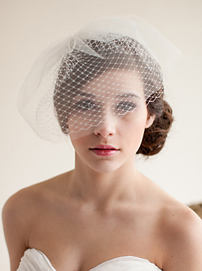 cheap Wedding Veils-Two-tier Vintage Style / Classic Style Wedding Veil Blusher Veils with Solid Tulle / Birdcage