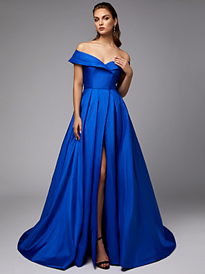 cheap Evening Dresses-A-Line Elegant Blue Engagement Formal Evening Dress Off Shoulder Sleeveless Chapel Train Taffeta with Pleats Split 2020
