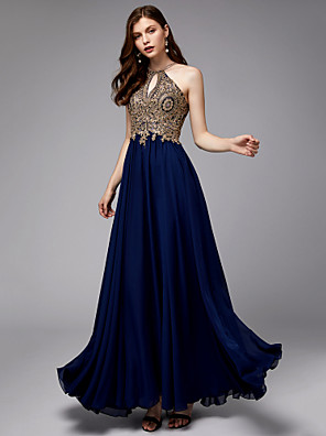 cheap Prom Dresses-A-Line Empire Blue Wedding Guest Prom Dress Halter Neck Sleeveless Floor Length Chiffon Lace Tulle with Appliques 2020