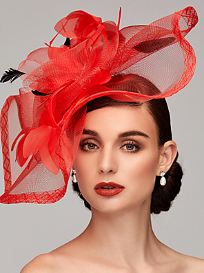 cheap Wedding Wraps-Feather / Net Kentucky Derby Hat / Fascinators / Headpiece with Feather / Floral / Flower 1pc Wedding / Special Occasion / Tea Party Headpiece