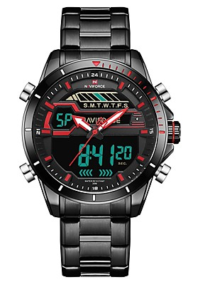 cheap Quartz Watches-NAVIFORCE Men's Dress Watch Wrist Watch Japanese Japanese Quartz Stainless Steel Black 30 m Water Resistant / Waterproof Calendar / date / day Noctilucent Analog Luxury Classic Fashion - Black / Red