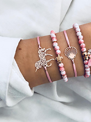 cheap Quartz Watches-4pcs Women's Bead Bracelet Pendant Bracelet Layered Unicorn Turtle Pineapple Ladies Bohemian Ethnic Cord Bracelet Jewelry Pink For Gift Ceremony Carnival Street Going out / Resin