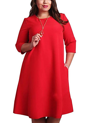 cheap Plus Size Dresses-Women's Plus Size Red Shift Dress - 3/4 Length Sleeve Solid Colored Basic Basic Daily Red Green L XL XXL XXXL XXXXL XXXXXL XXXXXXL