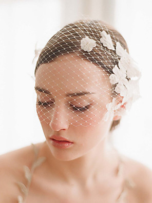 cheap Wedding Veils-One-tier Vintage Style / Classic Style Wedding Veil Blusher Veils with Petal / Solid Tulle / Birdcage
