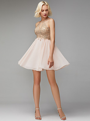 cheap Prom Dresses-Back To School A-Line Open Back Cute Homecoming Cocktail Party Dress Jewel Neck Sleeveless Short / Mini Chiffon Lace with Beading Appliques 2020 Hoco Dress