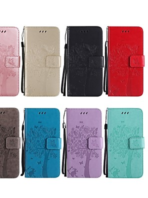 cheap Other Phone Case-Case For HTC HTC U11 / HTC M8 / HTC M9 Wallet / Card Holder / with Stand Full Body Cases Cat / Tree Hard PU Leather