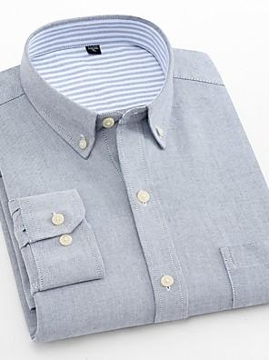 baratos Camisas Masculinas-Homens Tamanhos Grandes Camisa Social Sólido Blusas Negócio Básico Azul Marinha Cinzento Azul Claro