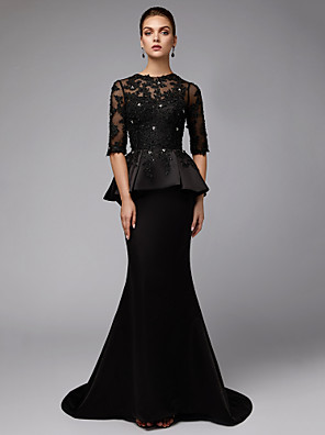 cheap Evening Dresses-Mermaid / Trumpet Mother of the Bride Dress Sexy See Through Jewel Neck Sweep / Brush Train Lace Satin Half Sleeve with Beading Appliques 2020