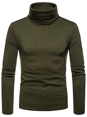 cheap Men's Sweaters & Cardigans-Men's Daily T-shirt Solid Colored Long Sleeve Tops Turtleneck Black Wine Army Green / Fall / Winter