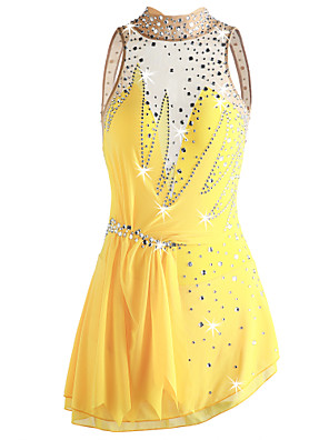 cheap Ice Skating Dresses , Pants & Jackets-Figure Skating Dress Women's Girls' Ice Skating Dress Yellow Open Back Asymmetric Hem Spandex Micro-elastic Professional Competition Skating Wear Handmade Sequin Sleeveless Figure Skating
