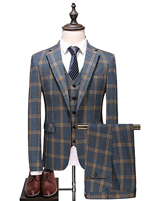 cheap Men's Tees & Tank Tops-Men's Party / Daily Spring &  Fall Plus Size Regular Suits, Plaid Fantastic Beasts Peaked Lapel Long Sleeve Cotton / Polyester Gray