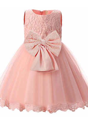 cheap Girls' Dresses-Kids Girls' Basic Dusty Rose Solid Colored Sleeveless Dress White