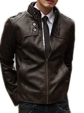 cheap Men's Jackets & Coats-Men's Daily Basic Winter / Fall & Winter Regular Leather Jacket, Solid Colored Stand Long Sleeve PU Brown / Black / Light Brown