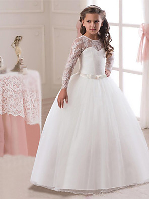 cheap Flower Girl Dresses-Princess Long Length Wedding / First Communion Flower Girl Dresses - Lace / Tulle Long Sleeve Jewel Neck with Lace / Belt / Bow(s)
