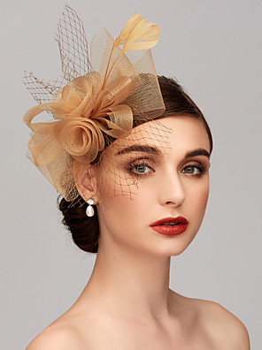 cheap Prom Dresses-Feather / Net Kentucky Derby Hat / Fascinators / Headpiece with Feather / Floral / Flower 1pc Wedding / Special Occasion / Tea Party Headpiece
