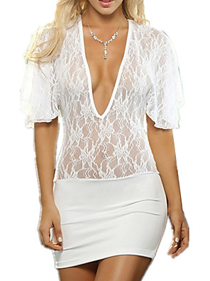 cheap Suits-Women's Lace / Mesh Suits Nightwear Solid Colored / Jacquard White Black One-Size