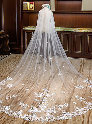 cheap Wedding Veils-Two-tier Flower Style Wedding Veil Cathedral Veils with Petal / Appliques Tulle / Mantilla