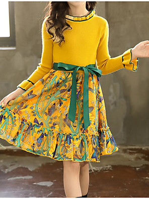 cheap Girls' Dresses-Kids Girls' Sweet Street chic Daily Going out Floral Patchwork Ruched Print Long Sleeve Knee-length Dress Green / Cotton