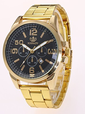 cheap Dress Classic Watches-Men's Dress Watch Wrist Watch Quartz Gold Calendar / date / day New Design Casual Watch Analog Classic Casual Fashion - Gold Black One Year Battery Life