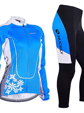 cheap Women's Cycling Jersey & Shorts / Pants Sets-Nuckily Women's Long Sleeve Cycling Jersey with Tights Winter Lycra Polyester Blue Floral Botanical Bike Clothing Suit Windproof 3D Pad Anatomic Design Breathable Reflective Strips Sports Floral