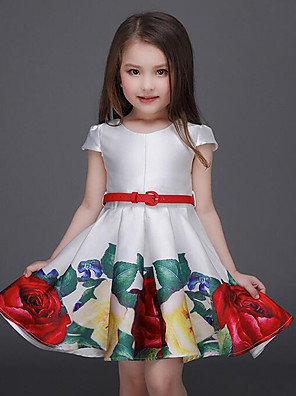 cheap Girls' Dresses-Kids Toddler Girls' Active Sweet Party Going out Floral Print Short Sleeve Above Knee Dress White
