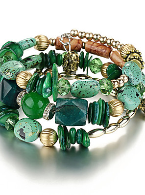 cheap Quartz Watches-Women's Charm Bracelet Bracelet Bangles Layered Beads Stacking Stackable Creative Ladies Vintage Ethnic Color everyday Resin Bracelet Jewelry Red / Green / Blue For Daily