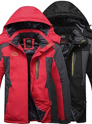 cheap Hiking Trousers & Shorts-Men's Hiking Jacket Winter Outdoor Thermal Warm Windproof Breathable Rain Waterproof Fleece Winter Jacket Top Black Red Army Green Blue Camping / Hiking Hunting Fishing M L XL XXL XXXL / Long Sleeve