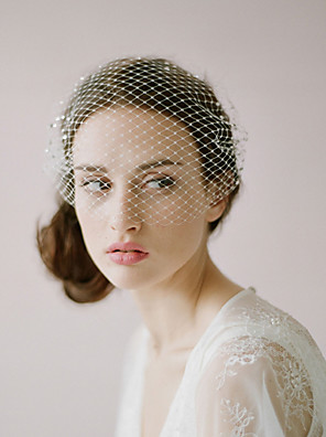cheap Wedding Veils-One-tier Vintage Style / Classic Style Wedding Veil Blusher Veils with Solid / Crystals / Rhinestones Tulle / Birdcage