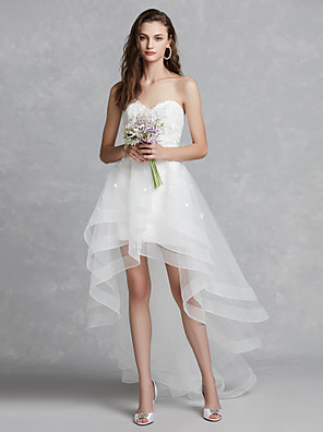 cheap Wedding Dresses-A-Line Wedding Dresses Sweetheart Neckline Asymmetrical Lace Tulle Strapless Beautiful Back with Appliques 2020