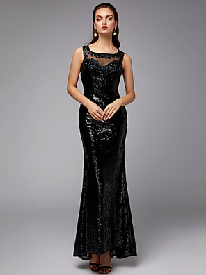 cheap Special Occasion Dresses-Mermaid / Trumpet Elegant & Luxurious Sparkle & Shine Formal Evening Black Tie Gala Dress Square Neck Sleeveless Floor Length Tulle Sequined with Beading Sequin 2020