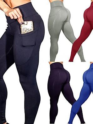 e3333bf9132 Women s Pocket Yoga Pants Blue Dark Gray Burgundy Sports Solid Color  Spandex High Rise Tights Leggings