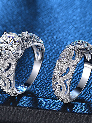 cheap Quartz Watches-Women's Ring Ring Set Micro Pave Ring 2pcs Silver Copper Platinum Plated Imitation Diamond Ladies Romantic Fashion Party Date Jewelry Rivet Heart Love Lovely