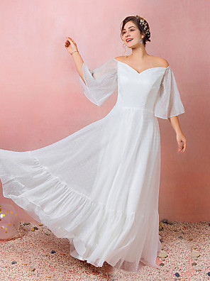 cheap Prom Dresses-A-Line Empire White Engagement Prom Dress Off Shoulder 3/4 Length Sleeve Floor Length Chiffon Satin with Ruffles 2020