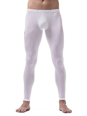 cheap Men's Exotic Underwear-Men's Normal Nylon Touch of Sensation Long Johns Solid Colored Low Waist / Fall / Winter / 1 Piece / Skinny