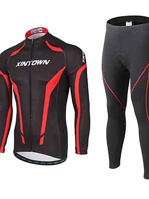 cheap Evening Dresses-XINTOWN Men's Long Sleeve Cycling Jersey with Tights Black Bike Pants / Trousers Jersey Clothing Suit Thermal / Warm Windproof 3D Pad Reflective Strips Back Pocket Winter Sports Polyester Spandex