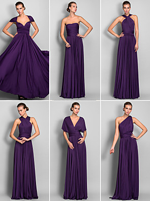 cheap Bridesmaid Dresses-A-Line Floor Length Jersey Bridesmaid Dress with Criss Cross / Pleats / Convertible Dress
