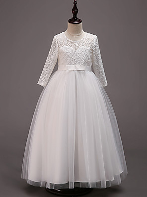 cheap Flower Girl Dresses-Princess Floor Length Wedding / Party / Pageant Flower Girl Dresses - Cotton / Lace / Tulle Half Sleeve Jewel Neck with Lace / Belt