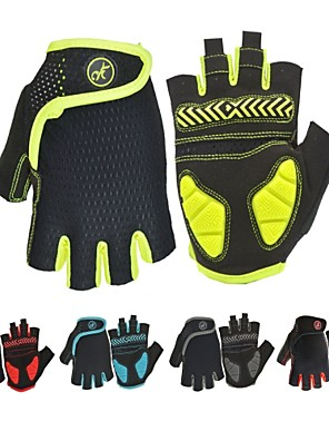 cheap Boys' Tops-Bike Gloves / Cycling Gloves Mountain Bike Gloves Mountain Bike MTB Road Bike Cycling Breathable Anti-Slip Shockproof Sweat-wicking Fingerless Gloves Half Finger Sports Gloves SBR Lycra Mesh Black